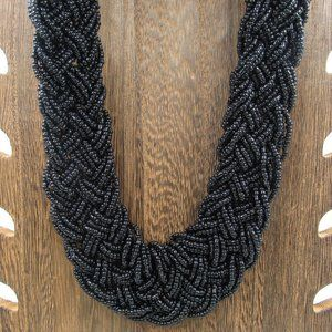 """Jewelry - 22"""" Thick Black Beaded Necklace Vintage Costume"""